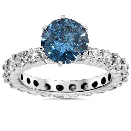 4 3/4ct Blue & White Diamond Eternity Engagement Ring 14K White Gold (H/I, I1-I2)