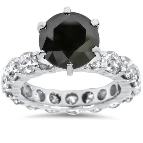 9ct Black & White Diamond Eternity Engagement Ring 14K White Gold (G/H, I1-I2)