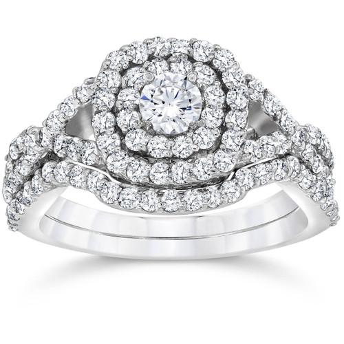 1 1/10ct Cushion Diamond Halo Engagement Ring Set 10K White Gold (I/J, I2-I3)