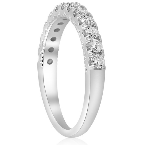 1/2ct U Prong Diamond Milgrain Wedding Ring 14k White Gold (G/H, I1)