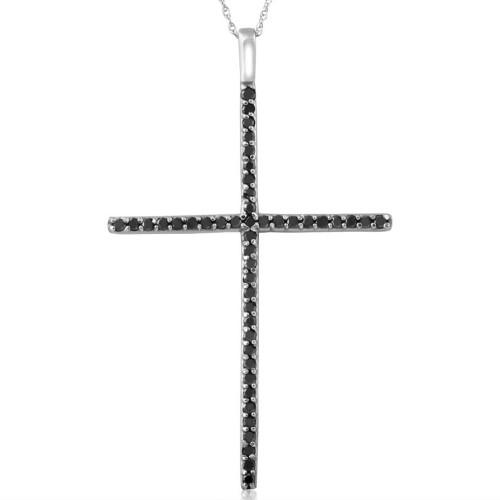 White Gold 1/2ct Black Diamond Cross Pendant Necklace (Black, AAA)
