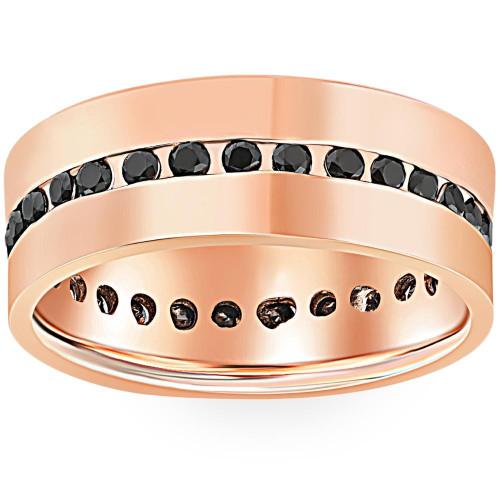 1 1/4ct Black Diamond Channel Set Eternity Ring 14K Rose Gold (Black, I2)