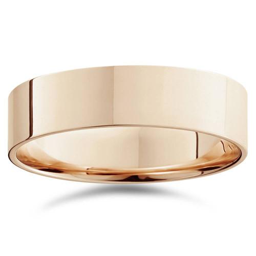 6mm Flat High Polished Plain Wedding Band 14K Rose Gold