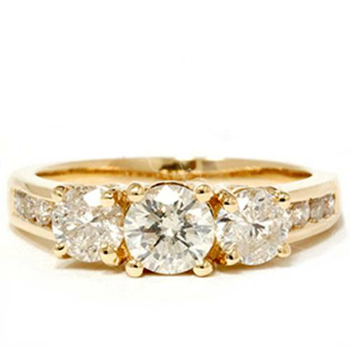 2ct Diamond Three Stone Engagement Ring 14K Yellow Gold Channel Set Round Cut (G/H, I1)
