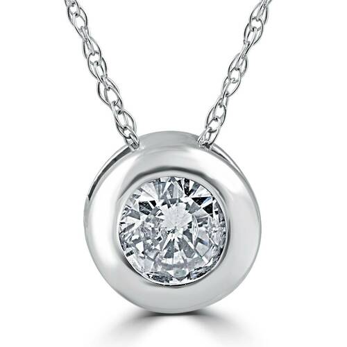 14K White Gold 1/2ct Round Solitaire Diamond Solitaire Bezel Pendant (G/H, I1)