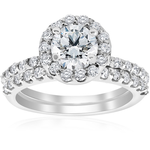 1 7/8ct Halo Diamond Engagment Ring Wedding Set (1ct Center) 14k White Gold ((G-H), I1)