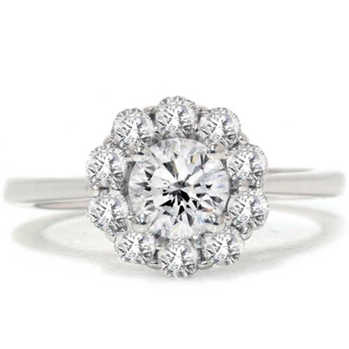 1 1/5ct Halo FIRE Diamond Engagement Ring 14K White Gold (G/H, I1)