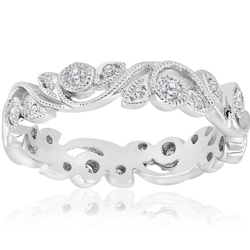 1/4ct Vintage Stackable Filigree Diamond Eternity Wedding Ring 14k White Gold (G-H, I1)