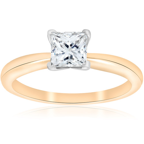 G/SI2 1ct GIA Certifed Princess Cut Solitaire Diamond Engagement Ring Yellow Gold ((G), SI(2))
