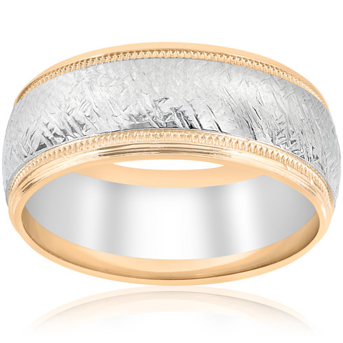 14k White & Yellow Gold Men's Comfort Wedding 8MM Two Tone Etched Two Tone Band