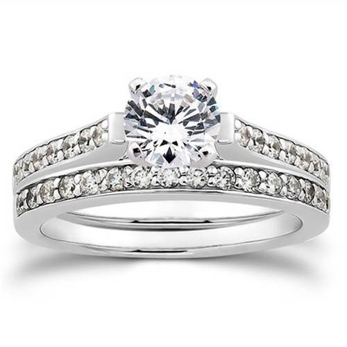 1/2ct Diamond Engagement Matching Wedding 14K White Gold Ring Set (G/H, I1)
