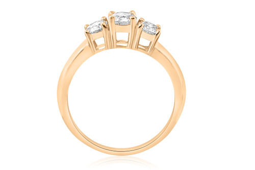 1ct 3 Stone Diamond Engagement Round Cut Ring 10k Yellow Gold (I/J, I2-I3)