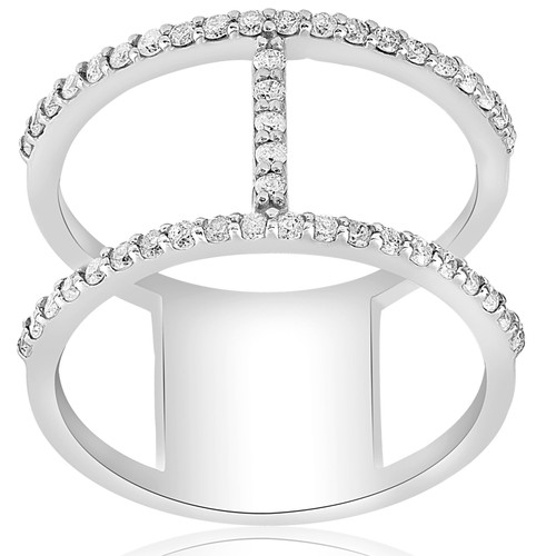 1/2ct Designer Diamond Right Hand Wide H Shape Fashion Ring 10K White Gold (H/I, I1-I2)