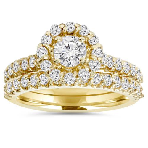 1 7/8ct Round Diamond Halo Engagement Wedding Ring Set 14K Yellow Gold (G/H, I1-I2)