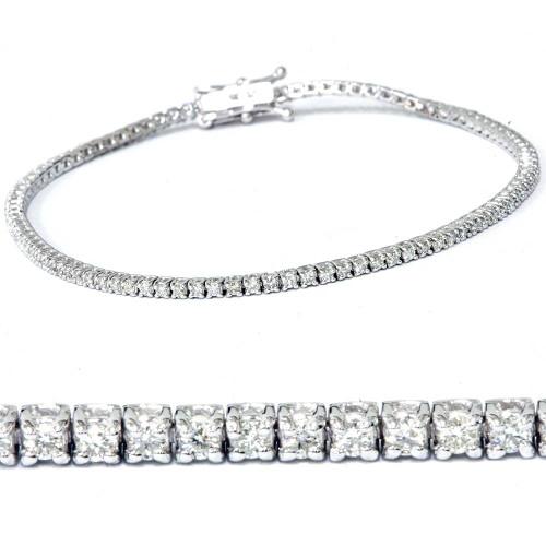 "1ct Lab Created Diamond Tennis Bracelet 18K White Gold 7"" Double Lock Clasp (F, VS/SI)"