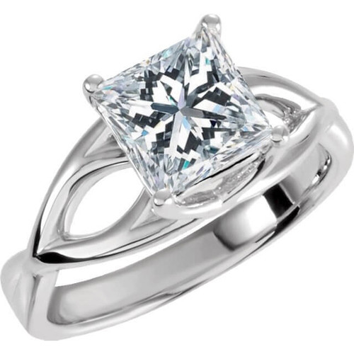 1 Carat Princess Cut Enhanced Diamond Solitaire Engagement Ring 14K White Gold (G/H, I1)