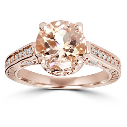 2 Carat Morganite & Diamond Vintage Engagement Ring 14K Rose Gold (H/I, I1)