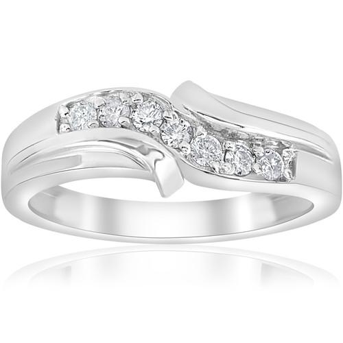 1/2ct Diamond Mens Wedding Ring 10k White Gold (H/I, I1-I2)