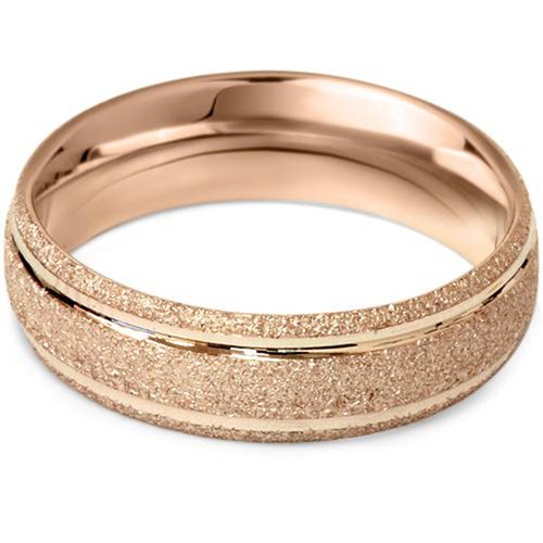 6mm Brushed Wedding Band 14K Rose Gold