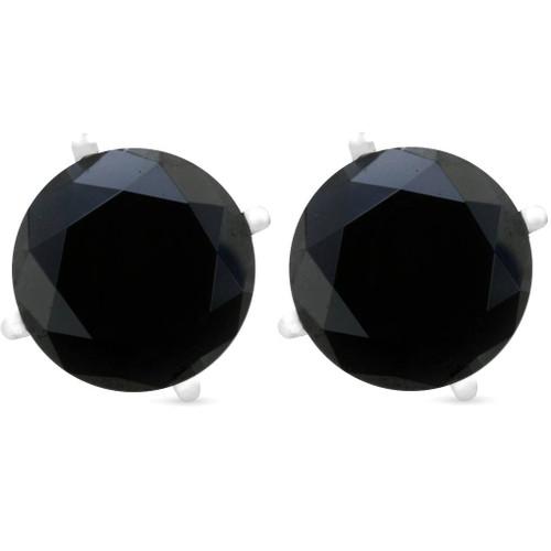2ct Black Spinel Studs 6mm Earrings 14K White Gold