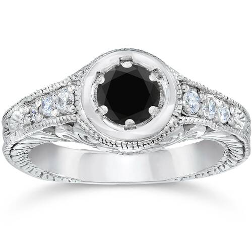 5/8ct Vintage Treated Black & White Diamond Engagement Ring 14K White Gold (G/H, I2)
