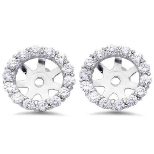3/4ct Diamond Halo Earring Studs Jackets 14K White Gold (6-6.7mm) (G-H, I1)