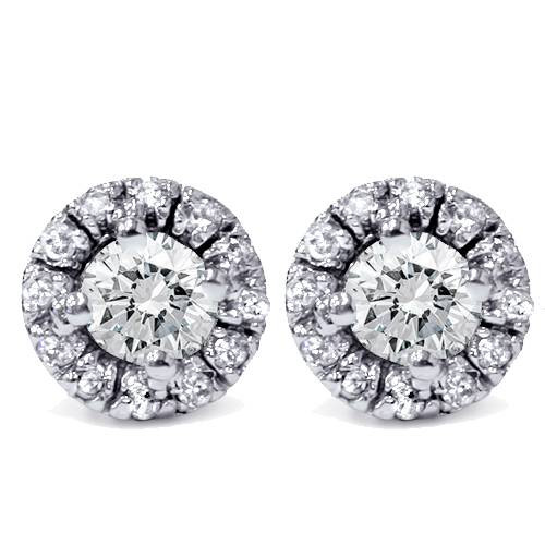 5/8ct Pave Halo Diamond Studs 14K White Gold (G/H, I2)