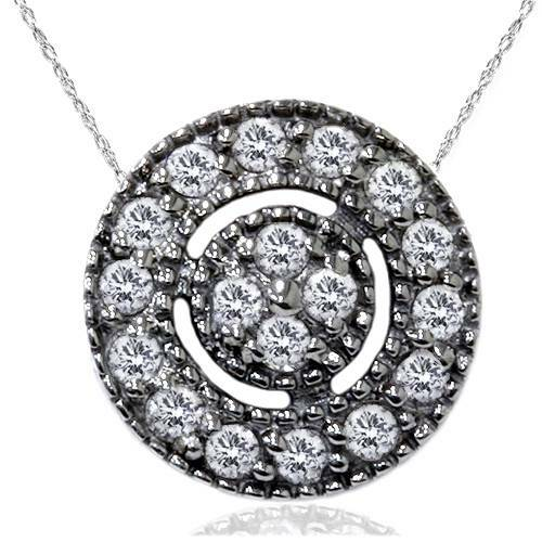 "1/4ct Diamond Pave Halo Pendant 14K Black Gold Womens Necklace & 18"" Chain (I-J, I2-I3)"