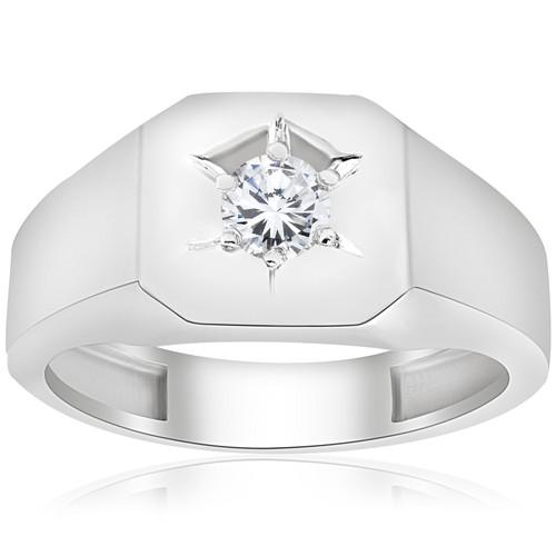 Mens 1/6ct Diamond Solitaire High Polished Wedding Ring 10k White Gold (H/I, I1-I2)