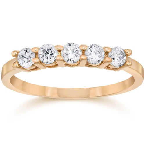 1/2ct Five Stone Diamond Ring 14K Rose Gold (G/H, I2-I3)