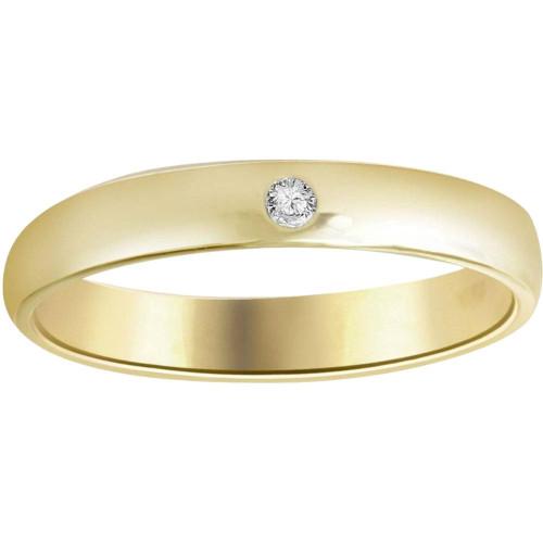 Bezel Solitaire Diamond Engagement Promise Gold Ring (G, SI)
