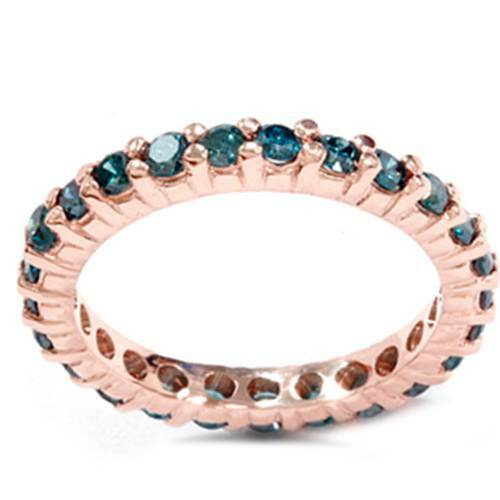1 1/2ct Prong Blue Diamond Eternity Ring 14K Rose Gold (Blue, I1)