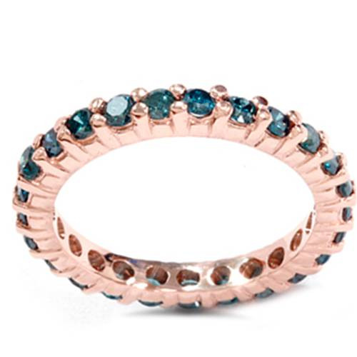 1 1/2ct Prong Blue Diamond Eternity Ring 14K Rose Gold (Blue, I1)