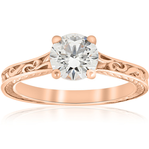 1ct Diamond Solitaire 14k Rose Gold Vintage Engagement Ring Art Deco Filigree ((G-H), SI(1)-SI(2))