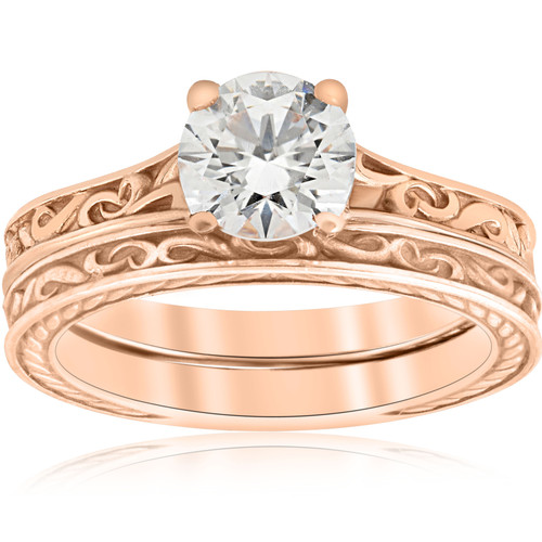 1ct Diamond Solitaire 14k Rose Gold Vintage Engagement Ring Wedding Band ((G-H), SI(1)-SI(2))