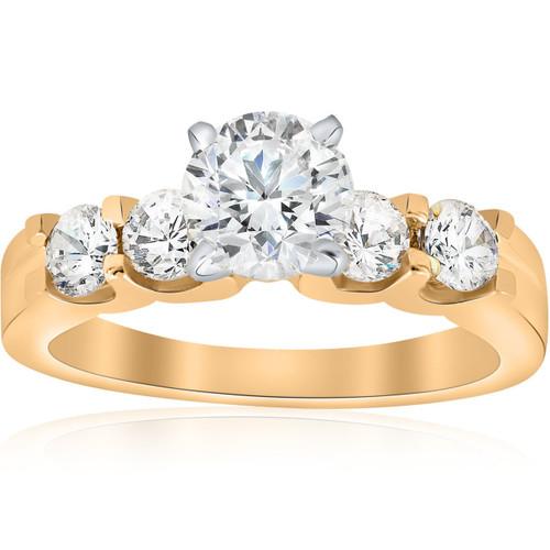1 3/4ct Diamond 14k Yellow Gold Engagement Ring U Prong Round Cut (I/J, SI2-I1)