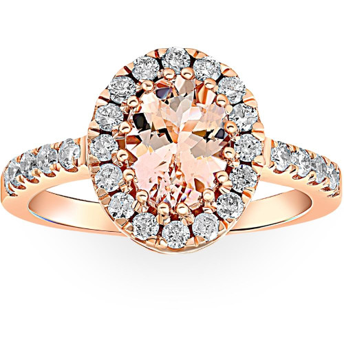 1 1/2 CT Oval Morganite & Diamond Halo Ring 14K Rose Gold (H/I, SI1-SI2)