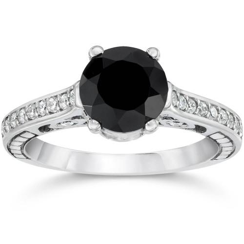 1 1/4ct Vintage Black Diamond Engagement Ring 14K White Gold (G/H, I2)