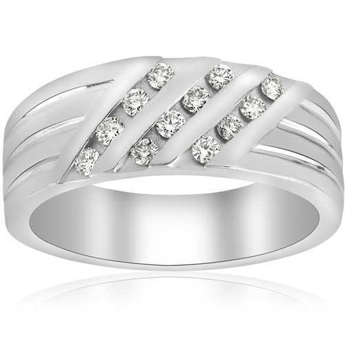 1/2ct Mens Diamond Wedding Ring Three Row 10k White Gold (H/I, I1-I2)