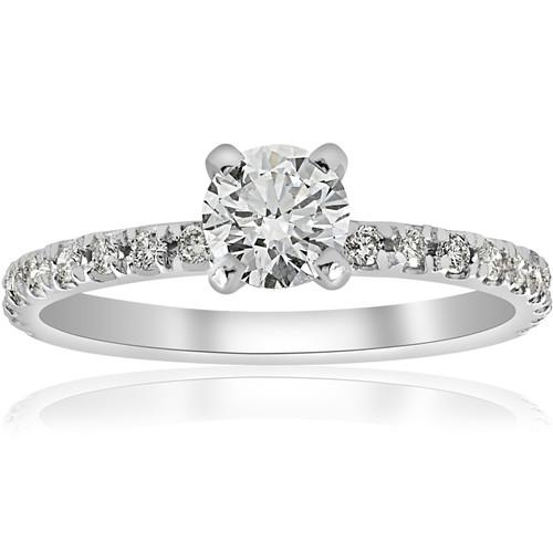 3/4ct Diamond Engagement Ring French Pave Set 14k White Gold (H/I, I1-I2)