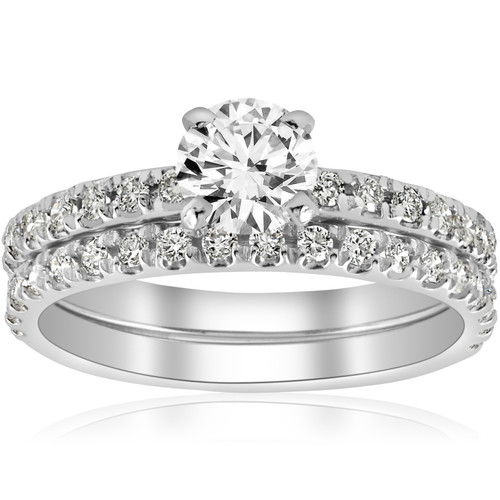 1 ct Diamond Engagement Wedding Ring French Pave Set 14k White Gold (H/I, I1-I2)