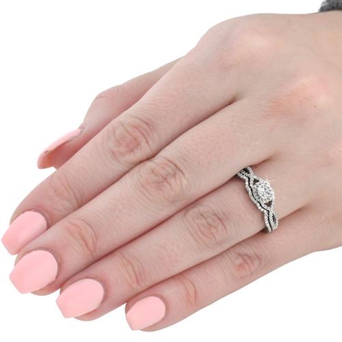 3/4ct Diamond Infinity Engagement Wedding Ring Set 14K White Gold (G/H, I1-I2)