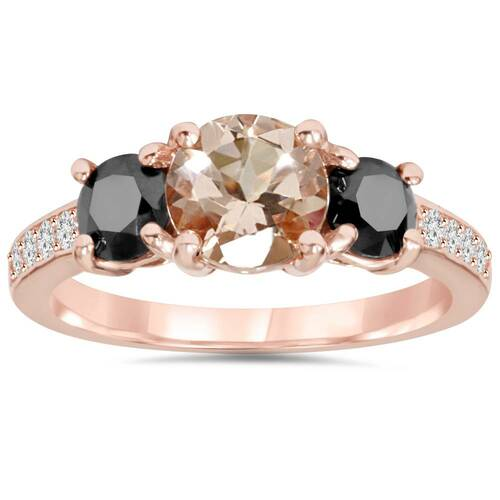 2.10Ct Morganite & Black Diamond Engagement 3-Stone Ring 14K Rose Gold (H/I, I1-I2)