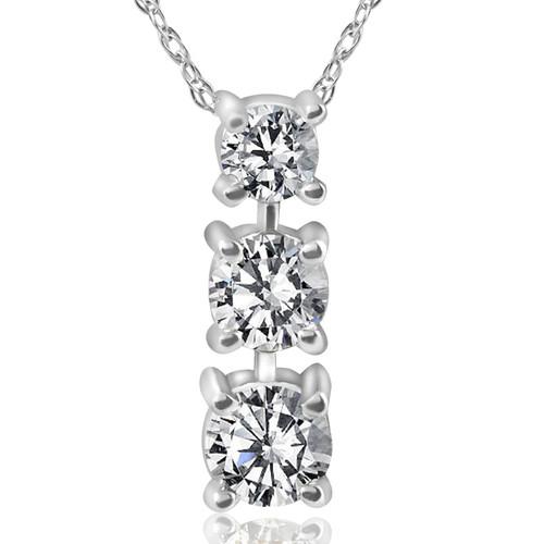 1/2ct 3-Stone Diamond Pendant 14k White Gold (G/H, I1)