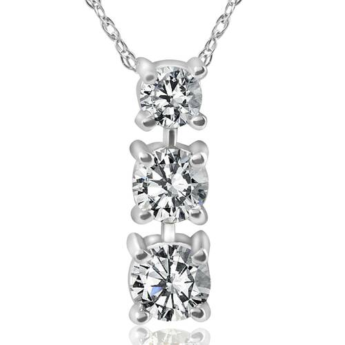 1/2ct 3-Stone Diamond Pendant 14k White Gold (G/H, I1)