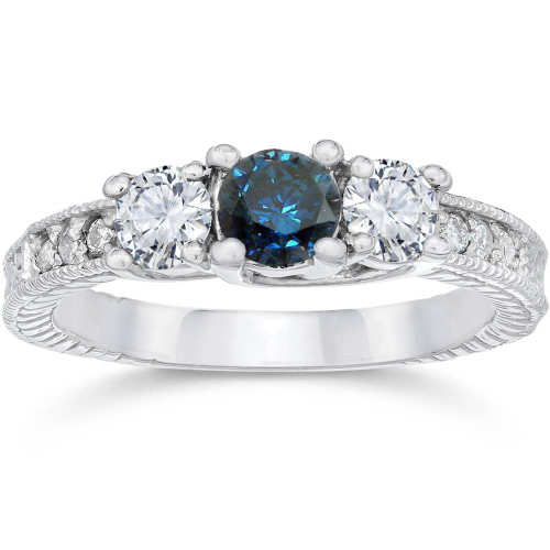 1ct Vintage Blue Diamond 3-Stone Engagement Ring 14K White Gold (G/H, I1-I2)