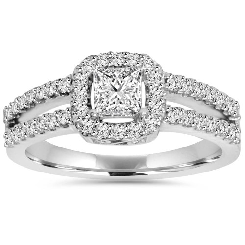 1 Carat Princess Cut Split Shank Halo Diamond Engagement Ring 14K White Gold (H/I, I1-I2)