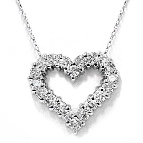 1/2ct Diamond Heart Pendant 14K White Gold (G/H, I1-I2)