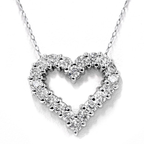1/2ct Diamond Heart Pendant 14K White Gold (G/H, I1-I2)