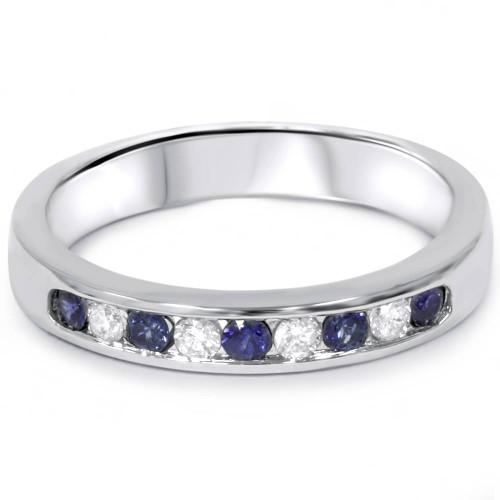 1/4ct Blue Sapphire Diamond Channel Set Wedding Ring 14K White Gold (F/G, VS2-SI1)
